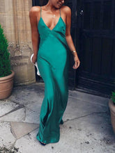 Sexy V-Neck Sleeveless Split Hem Maxi Dress