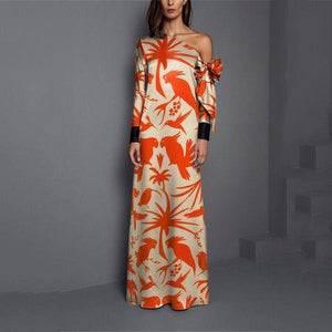 Sexy Shoulder Print Long Sleeved Maxi Dress