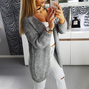 Casual Loose Long Sleeve Plain Cardigans