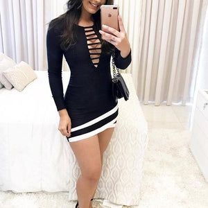 Sexy Irregular Hollow Out Bodycon Dress