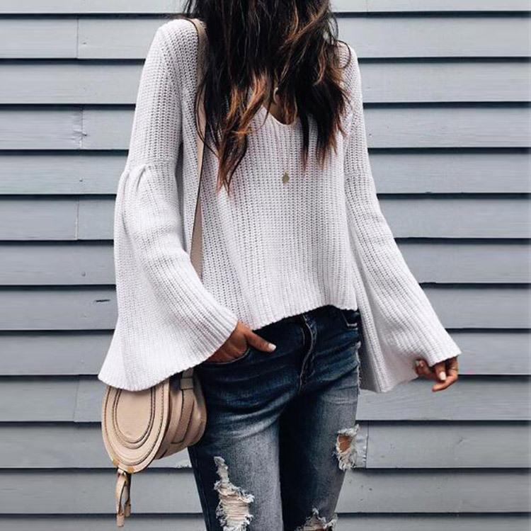 Sexy V-Neck Wool Knit Loose Trousers Sleeve Sweater