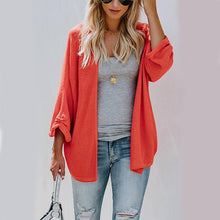 Solid Color Loose Plain Long Sleeves Cardigan