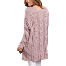 Knit Floral Side Spilt V-Neck Long Sleeves Sweater
