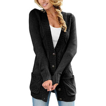 Knit Long Sleeves Button Cardigan With Pockets