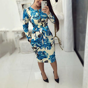 New Fashion Print Slim Zipper Bodycon