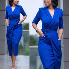 Pure Color Suit Collar Long Sleeve Bodycon Dress With Pockets