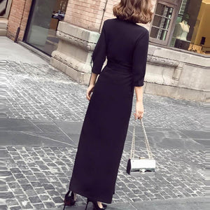 Elegant V Collar Pure Color Split Maxi Shift Dress