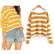 Large Round Neck Loose Striped Sweater