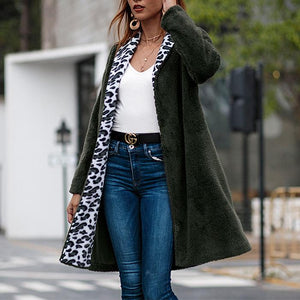Fashion Woolen Velvet Leopard Long Cardigan