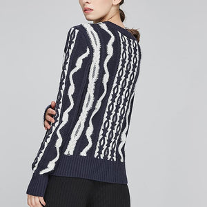 Vintage Knit Wave Long Sleeves Sweater