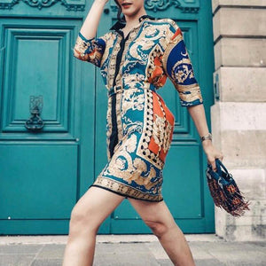 Retro Printing Lapel 3/4 Sleeve Shift Dress