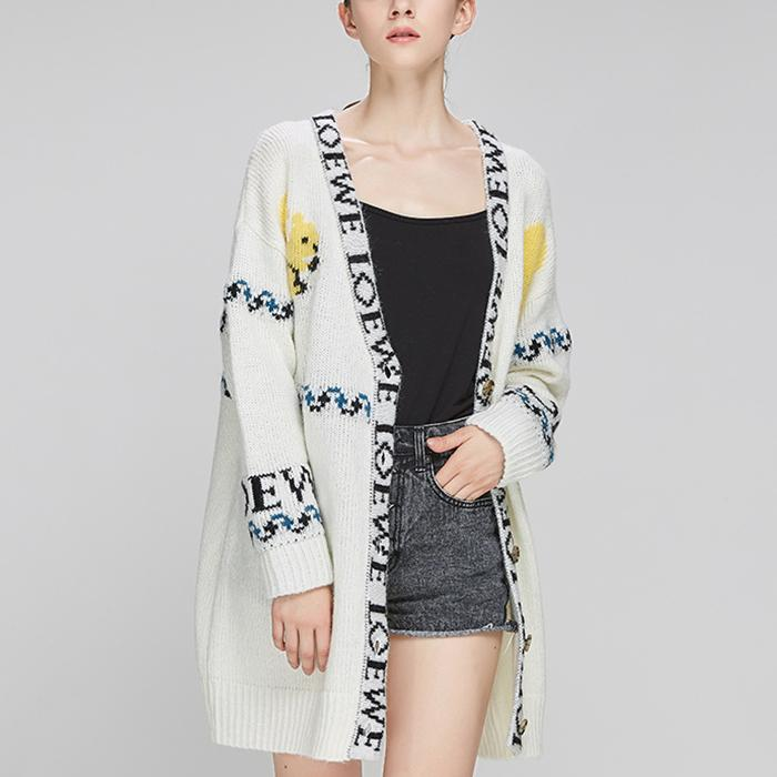 New Knit Letter Button Long Sleeves Cardigan