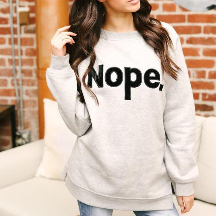 Gray Letter Printed Sweatshirts