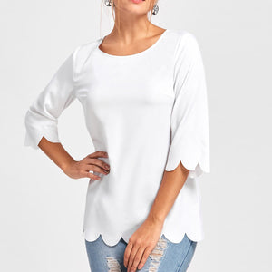 New Round Neck Solid Color Irregular Burnt T-Shirt