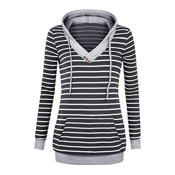 Button Hooded Striped Pocket Hoodies