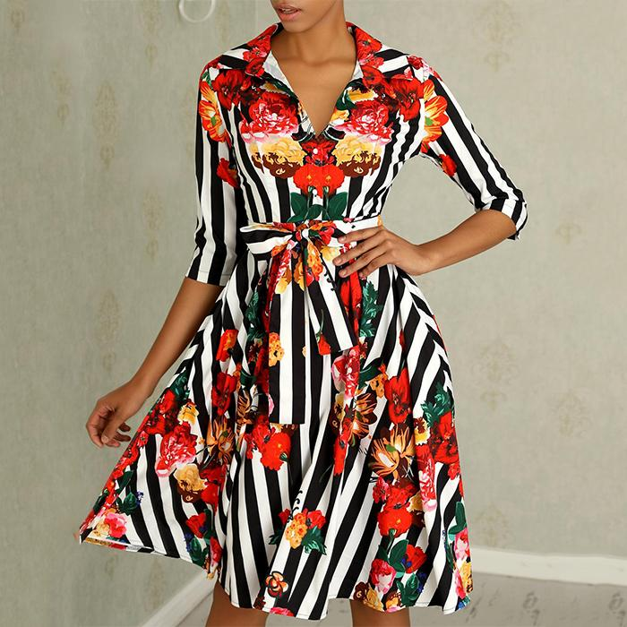 New Sweet Floral Printed Bowknot Skater Dress