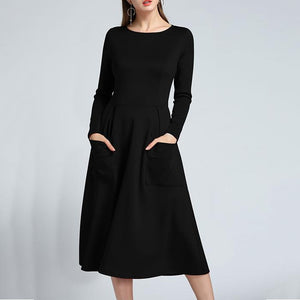 New Back Zipper Elegant Skater Dress With Pockets