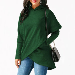 Irregular Solid Color Long Sleeves Hoodies