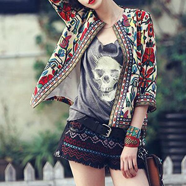 New Embroidered Ethnic Style Print Short Coat