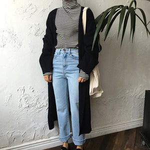 Knit Side Spilt Crimping Long Sleeves Cardigan