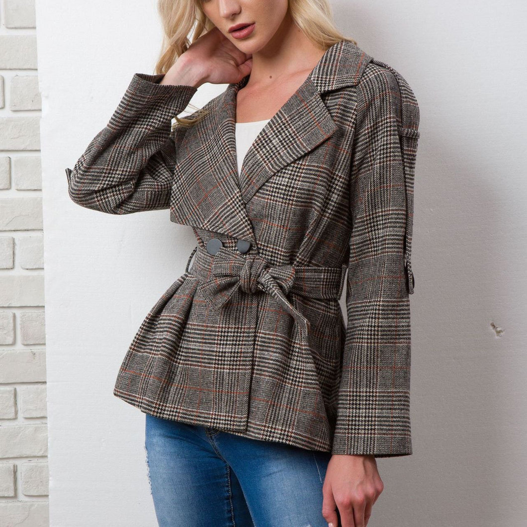New Lattice Lapel Wool Warm Coat