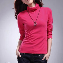 Pure Color Turtleneck Long Sleeve Shirt