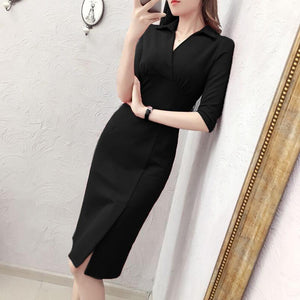 New Ladies Temperament Solid Color Bodycon