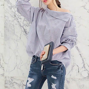 Oblique Shoulder Stripes Long Sleeve Shirt