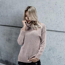 Chic Casual Thermal Slim Plain High Collar Long Sleeve Sweater