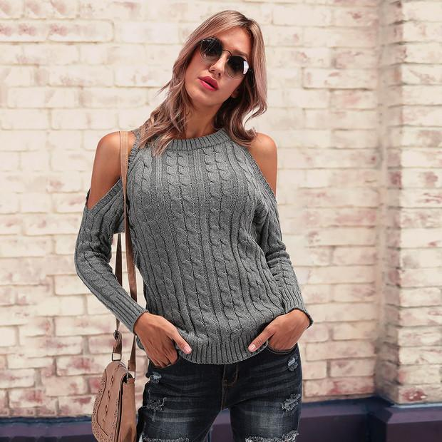 Casual Chic Slim Off Shoulder Long Sleeve Halter Sweater