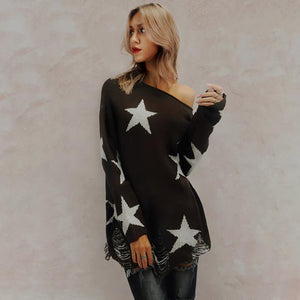 Chic Casual Loose Star Off Shoulder Long Sleeve Sweater