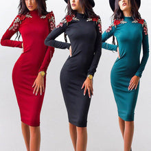 Round Collar Embroidered Bodycon Dress