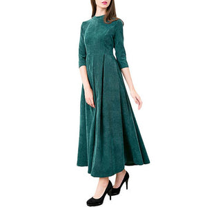 Pure Color Round Collar Maxi Vacation Dress