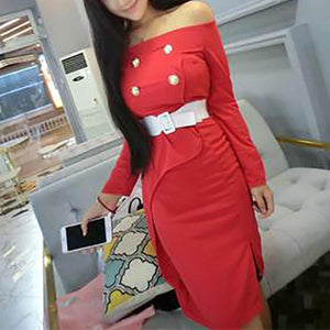 Off Shoulder Buttons Pure Color Long Sleeve Bodycon Dress
