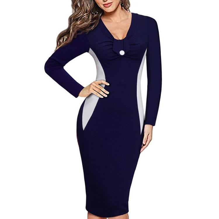 V Collar Buttons Stitching Long Sleeve Bodycon Dress