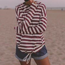 Stripes Long Sleeve Hoodies With Pockets