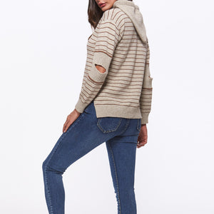 New Slim Hooded Long Sleeve Striped Sweater