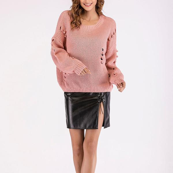 New Fashion Solid Color Cutout Slim Sweater