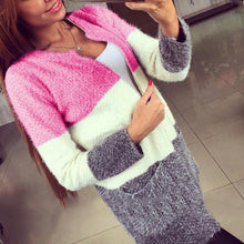 New Fashion Color Matching Mohair Knit Cardigan