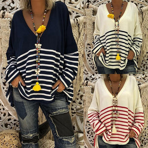 Deep V Neck Stripes Patchwork Long Batwing Sleeve Knitting Blouse