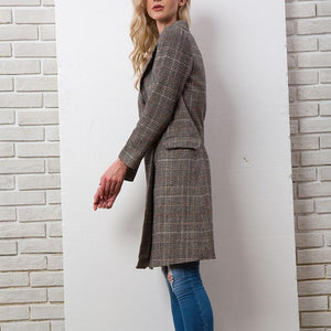 New Plaid Woolen Warm Lapel Coat