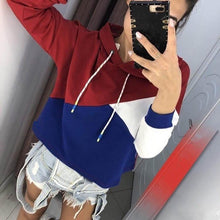 Fashion Contrast Color Long Sleeve Hoodies