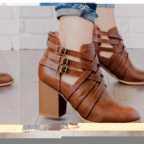 a73713fbb7d Fashion Round-Head Square-Heel Short Boots