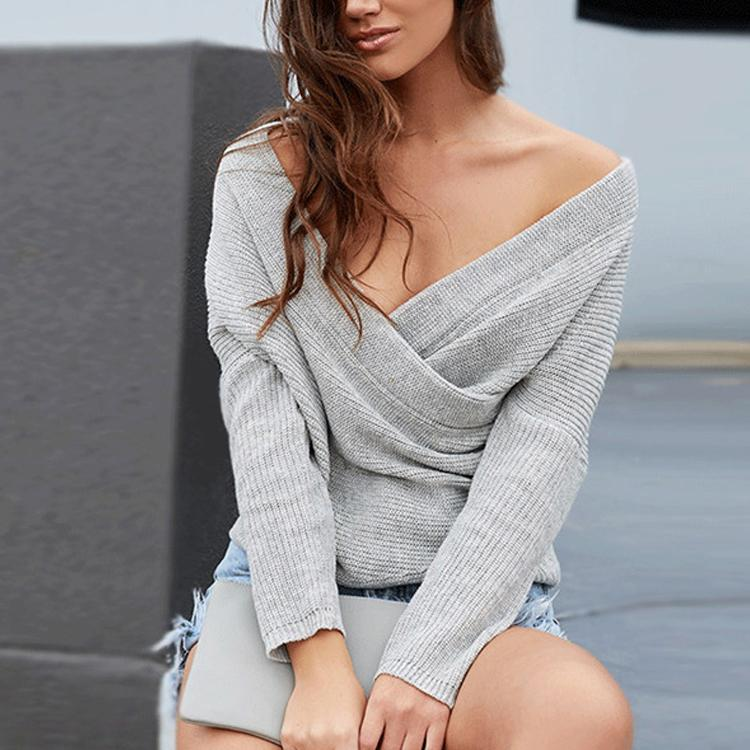 93fdce5f82c New Fashion Cross V-Neck Off-The-Shoulder Sweater