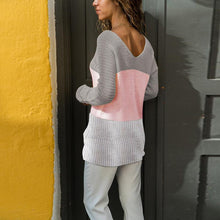 V Neck Long Sleeve Fashion Loose Color Block Knitting Sweaters