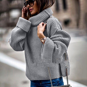 Fashion Loose Turtle Neck Long Sleeve Plain Knitting Sweaters