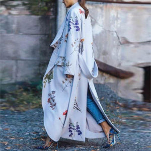 Fashion Floral Printed Long Casual Coat Loose Belted Outwear