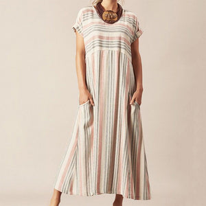 Fashion Round Neck Striped Women's Casual Dress
