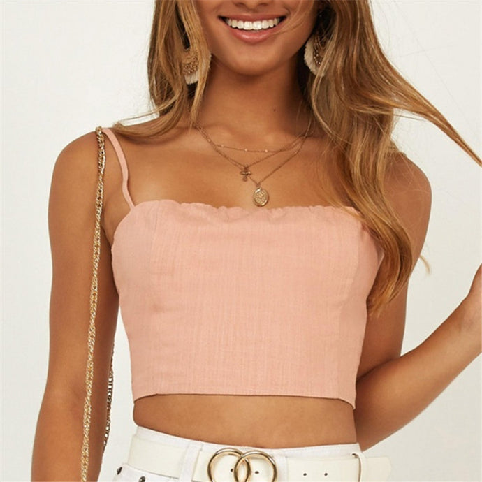 Solid Color Sleeveless Backless Lace-Up Sweet Top