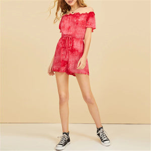 Summer Off Shoulder Tie Printed Short-Sleeved Jumpsuit Shorts